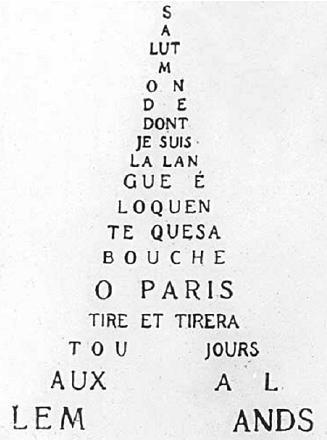 Calligramme de Guillaume Apollinaire (1880-1918) dont la forme évoque la tour Eiffel. dans Guillaume APOLLINAIRE guillaume_apollinaire_calligramme