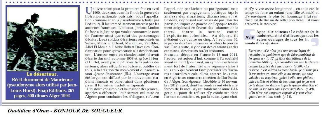 Quotidien d'Oran du 17-07-2014- BONJOUR DE SOUGUEUR